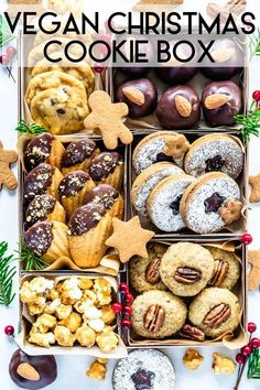 Vegan Christmas Cookies in a wonderful vegan christmas cookie box! This is the best vegan cookie spread for your holiday baking! Best Vegan Cookies, Vegan Gingerbread Cookies, Vegan Christmas Desserts, Vegan Christmas Cookies, Christmas Cookie Boxes, Vegan Christmas Dinner, Pecan Cookie Recipes, Vegan Dessert Recipes, Holiday Baking