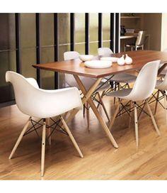 Charles Ray Eames Style DAW Arm Chair - White