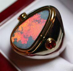 Gondwanaland Solid Black Opal & Ruby Men's Ring