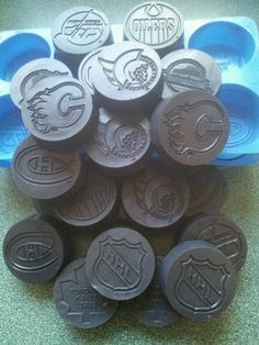 More hockey puck soap for my son's team. I used an NHL jello mold I found at a thrift shop- perfect!