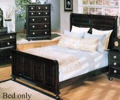 California King Size Bed Contemporary Style Espresso Finish