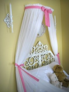 BED Crown Crib Nursery Canopy  SaLe PRINCESS Pink Gingham CUSTOM. $42.99, via Etsy.