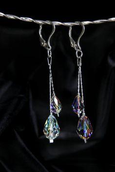 Swarovski earrings Swarovski Crystal Earrings Silver by Perlery Swarovski Crystal Earrings, Sterling Silver Earrings, Dangle Earrings, Bridesmaid Jewelry, Wedding Jewelry, Dangles, Color, Etsy, Colour