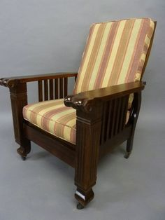 Lot: Dated 1900 American Adjusting Morris Chair with New, Lot Number: 0245, Starting Bid: $20, Auctioneer: Jay Anderson Antique Auction, Auction: Jay Anderson