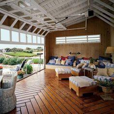 under deck living outdoor/indoor with garage doors - Google Search