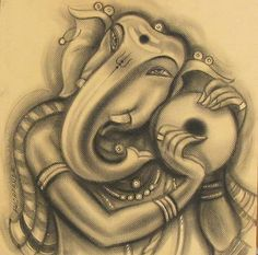 Mix Media On Paper And Charcoal On Paper By Indian Artist Ramesh Pachpande Ganesha Painting, Ganesha Art, Indian Contemporary Art, Indian Artist, Charcoal Drawing, Art Forms, Online Art, Art Gallery, Sketches