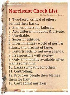 Narcissist Check List [Sue Fitzmaurice, Author • www.facebook.com/SueFitzmauriceAuthor]