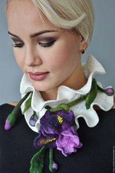 """Купить Шарф """"Ирис""""(валяние) - белый, цветочный, ирис, цветы, Валяние, ручная работа, авторская работа"""