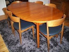 Danish modern teak dining table with six matching by modernemobler