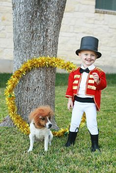 I went back and forth on a Halloween costume for Lane this year. I finally settled on him being a ringmaster and Scout being a lion! Circus Theme Party, Carnival Birthday Parties, Circus Birthday, Costume Ringmaster, Circus Halloween Costumes, Family Halloween, Halloween Fun, Lion Tamer Costume, Chien Halloween