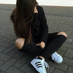 Fashion - Ripped Denim Jeans White Black adidas Shirt* Hoodie/Jacket and Superstars Girl Photo Poses, Girl Photography Poses, Tumblr Photography, Girl Photos, Aesthetic Photo, Aesthetic Girl, Foto Casual, Stylish Girl Pic, Cute Girl Photo