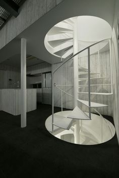 Spiral staircase at Torus, Saitama, Japan by N Maeda Atelier Grand Staircase, Spiral Staircase, Staircase Design, Architecture Design, Amazing Architecture, Japan Architecture, Futuristic Architecture, Habitat Collectif, Stair Ladder