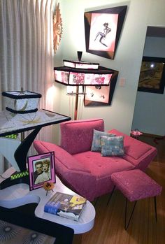 Hairpin Leg Pink Frieze Chair, Amoeba End Table, Moss Lamp, Paul Frankl Lamp, Carlo of Hollywood Paintings hepcatrestorations.com