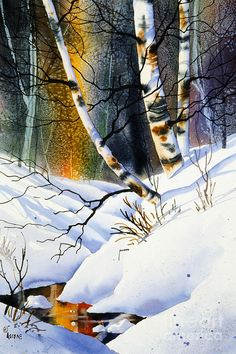 Birch Contours Painting by Teresa Ascone - Birch Contours Fine Art Prints and Posters for Sale