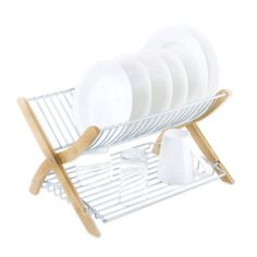 Umbra® Stack Dish Rack in Bamboo/Nickel - BedBathandBeyond.com