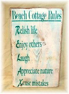 Beach Cottage Rules Sign RELAX Repurposed Fence