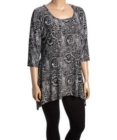 Loving this Black & White Abstract Sidetail Tunic - Plus on #zulily! #zulilyfinds