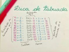 Dicas de tabuada | #study #studygram #MATEMÁTICA Physics And Mathematics, Math Work, Gernal Knowledge, School Study Tips, Grammar Lessons, Lettering Tutorial, 2nd Grade Math, School Notes, Math For Kids