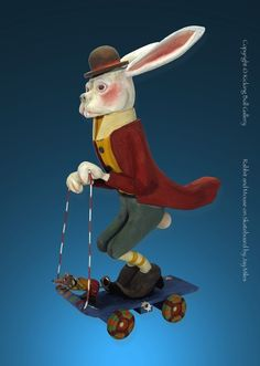 """Folk Art Rabbit & Mouse on Skateboard by Jay Miles 36""""H - white cedar.  Jay can carve anything from photo or sketch. See latest on Facebook under Kicking Bull Gallery."""