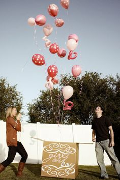 Gender Reveal Box. Love the idea of different shapes of balloons and different shades of pink or blue