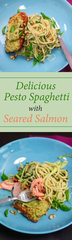 Do give this Delicious Pesto Spaghetti with Seared Salmon a try! The freshness of the of basil pesto is a nice match for the buttery salmon.