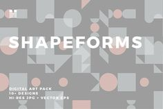 Shapeforms is a set of ten+ tiling, modern and geometric patterns. The designs come in neutral, soft pastel and bright color palettes.