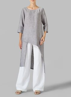 Linen Asymmetrical Tunic  Fluttery, romantic and displaying the refined tailoring of VIVID Linen. Cascading detail for graceful movement with each step.