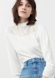 Cotton-blend fabric Lace panel High collar Long sleeve Openwork trims Teardrop fastening at back Diy Couture, Couture Tops, Zara Tops, Shirt Blouses, Shirts, Poses, High Collar, Blouses For Women, Winter Fashion