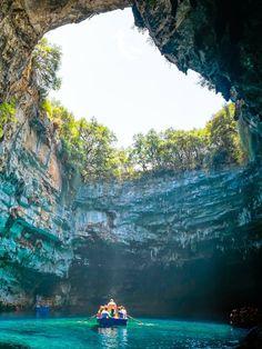 Melissani Cave Lake, Kefalonia Greece