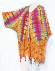 Hippie Boho Fringe Tie Dye Bead Kimono Kaftan Tent Tunic Cover Up Cardigan Orang   eBay