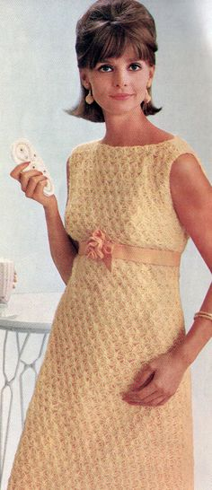 Vintage 1960s Empire Lovers Knot Dress Crochet Pattern PDF 6517