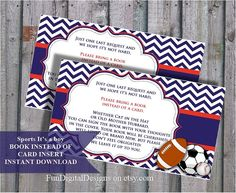 Book instead of card insert Sports Little All Star matching baby shower invitations