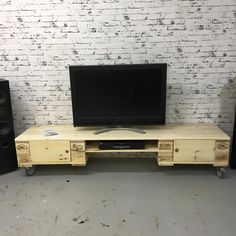 Pallet TV Stand with Cabinets | 101 Pallet Ideas