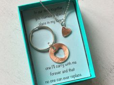 Now your special someone can carry a heart cut out penny keychain to commemorate a special year, along with a matching cut out heart for your to wear around your neck. This keychain is to remember a special year for you. Maybe its the year you got engaged, married or any other special date that you hold dear to your heart. The possibilities are endless. ***What your order includes: 1 Penny (choose the year from the drop down) with a heart cut out of it 1 tiny heart cut out that you can…