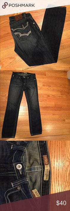Big Star, MADDIE STRAIGHT, Mid Rise Fit, 29R Maddie Big Star Straight, Mid Rise Fit. Size 29R.  Women's dark wash jeans with fading on rear pocket area and front thigh area. In excellent condition, only worn a few times. Big Star Jeans Straight Leg