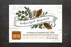 """Birch Bark Woods"" - Rustic, Floral & Botanical Rehearsal Dinner Invitations in Evergreen by Alethea and Ruth."