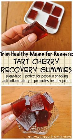 Great for runners! First in a special new recipe series - Trim Healthy Mama for Runners! These delicious gummies feature two nutritional powerhouses for runners: tart cherry juice and gelatin. They're super easy to make and keep in the fridge for post-run snacking.