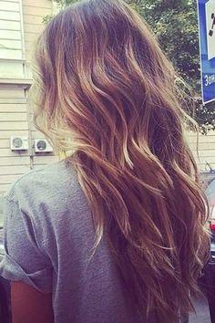 Long Wavy/Messy Hickory-Brown Hair with Caramel-Brown Balayage and Layering