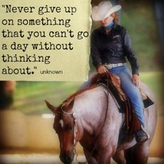 """Never give up on something that you can't go a day without thinking about."" ~ Unknown #horses"