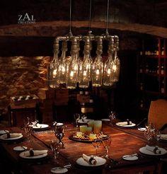Pendant Light. Wine / Beer bottles. Suspension by ZALcreations
