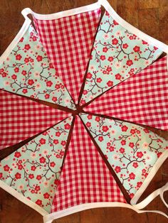 Light Blue and Red Floral and Check Bunting, Wedding Decor, Photo Prop, Nursery Decor