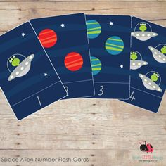 SPACE ALIEN NUMBER FLASH CARDS