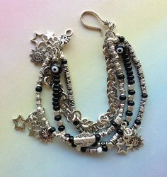 Black and Silver 4 Multistrand Star Charm by MAGICALUNIVERSE