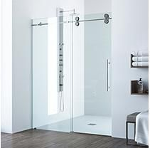 VIGO Elan 56 to 60 in. x 74 in. Frameless Sliding Shower Door in Stainless Steel with Clear Glass and Handle VIGO Elan 56 to 60 in. x 74 in. Frameless Sliding Shower Door in Stainless Steel with Clear Glass and Handle Vigo Shower Doors, Frameless Sliding Shower Doors, Glass Shower Doors, Sliding Doors, Shower Walls, The Doors, Modern Bathroom, Small Bathroom, Bathroom Ideas