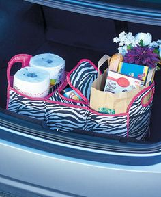 DIVIDED TRUNK ORGANIZER WITH INSULATED COMPARTMENT - ZEBRA