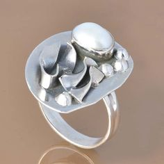 PEARL 925 SOLID STERLING SILVER EXCLUSIVE RING 5.93g DJR7400 #Handmade #Ring
