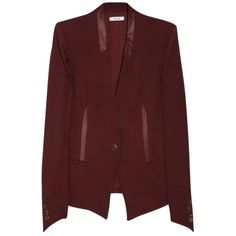 Pre-owned Helmut Lang Leather-trimmed Oxblood Blazer ($291) ❤ liked on Polyvore featuring outerwear, jackets, blazers, oxblood, helmut lang jacket, leather trim blazer, oxblood jacket, red jacket and helmut lang blazer