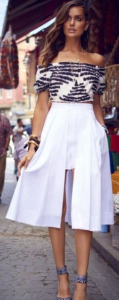 Printed Bandeau Top + White Skirt Source