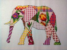 Patchwork elephant cross stitch from pattern above
