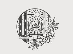 Easy Drawings The Cabin by Liam Ashurst - Dribbble - View on Dribbble Mini Drawings, Doodle Drawings, Doodle Art, Easy Drawings, Drawing Sketches, Circle Drawing, Pyrography, Line Art, Doodles
